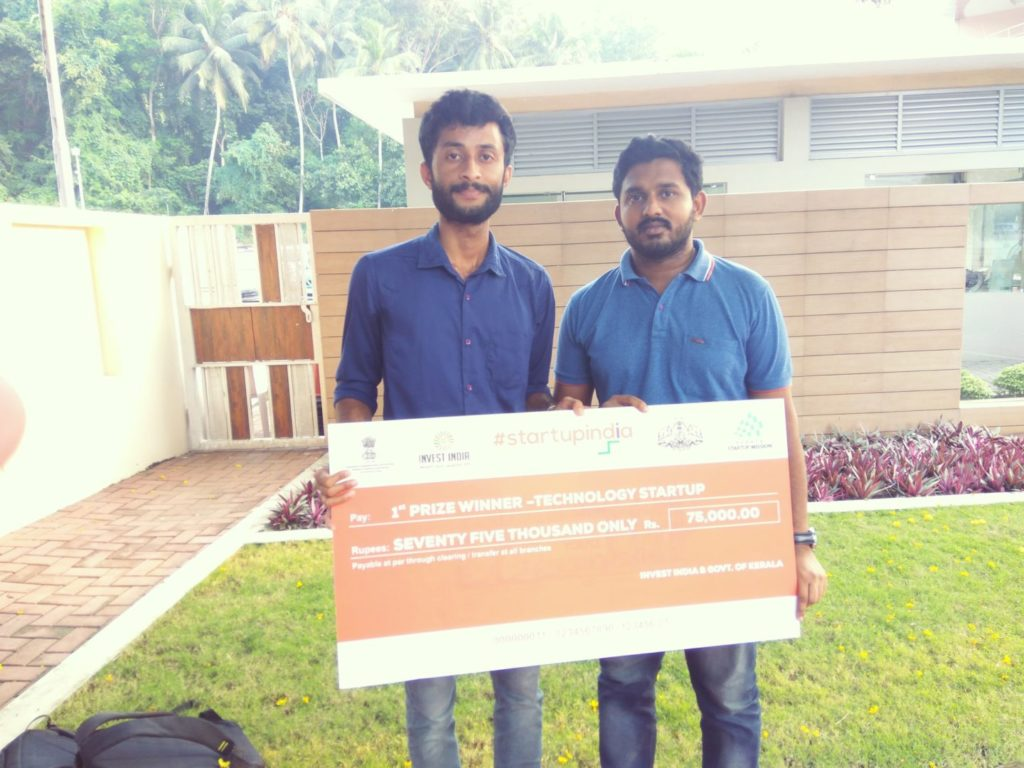 "Secured first place in Technology startup section of  ""Startup India Kerala Yatra"""